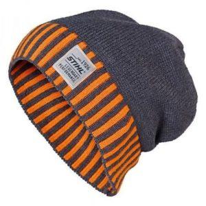 Müts kootud nature tumehall/oranz triibuline äär